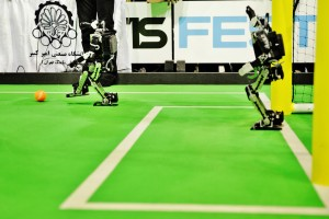 final match Soccer Humanoid Kid Size between DARwIn  vs. AUTMan at the World Championship finals of RoboCup 2013 in Eindhoven (NL)